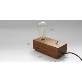 Retro wooden table lamp with edison bulb Blu Dot natural color 1 light side view