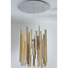 Woods pendant lamp Arturo Alvarez natural color Diam 60cm front view