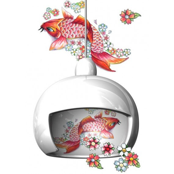 Juuyo pendant lamp Moooi white color Koi Carp Tattoo front view