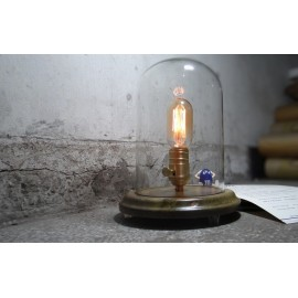 Bell Jar wood table lamp with edison bulb Blu Dot natural color front view