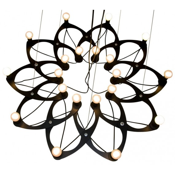 Ornametrica chandelier pendant lamp black color front view