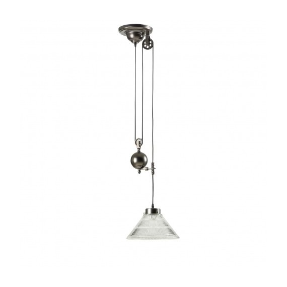 Industrial Pulley single pendant lamp with Edison bulbs Pottery Barn black color front view