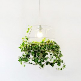 Hanging plant cage pendant lamp Foscarini white color front view