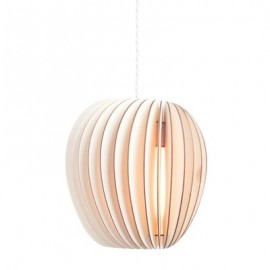 Pirum wood pendant lamp Kevin Reilly Lighting natural color front view