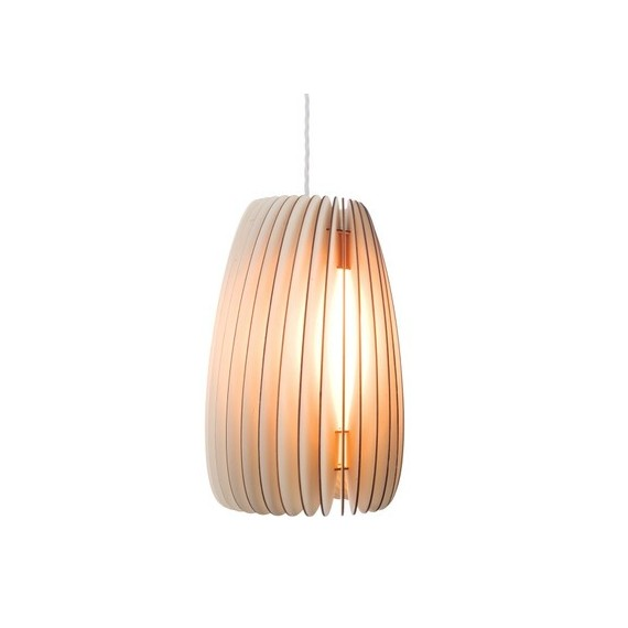 Secundum wood pendant lamp Kevin Reilly Lighting natural color front view