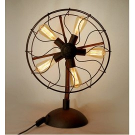 Industrial Retro Edison fan table lamp black color front view
