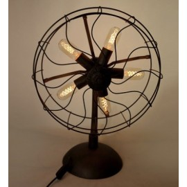 Industrial Retro Edison fan table lamp black color side view