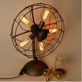 Industrial Retro Edison fan table lamp black color top view