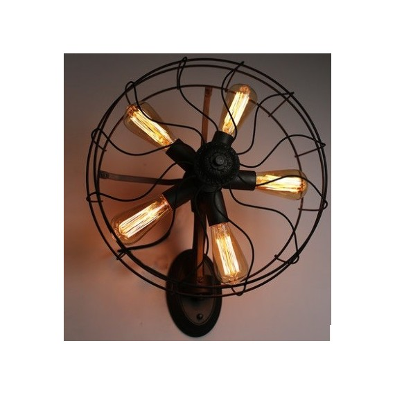 Industrial Retro Edison fan wall lamp black color front view