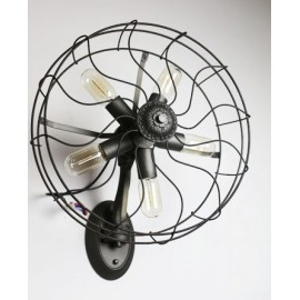 Industrial Retro Edison fan wall lamp black color with detail