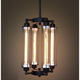 Industrial Vintage Edison 4 tube filament bulbs pendant lamp vertical