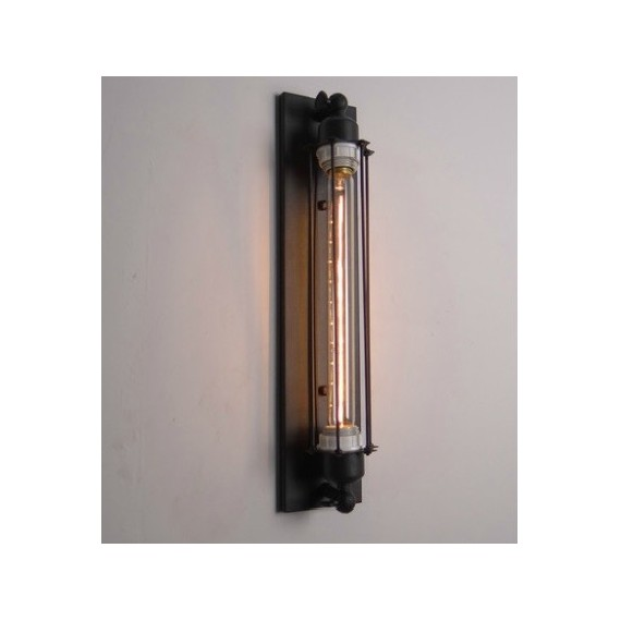 Industrial Vintage Edison 1 tube filament bulb wall lamp black color front view