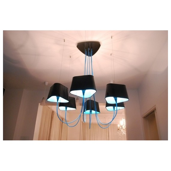 Nuage Chandelier Luster Designheure black color 6 lights front view