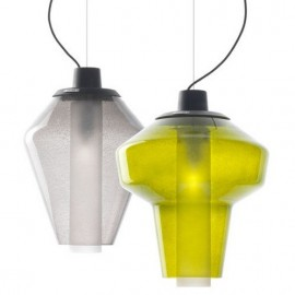Metal glass pendant lamp Diesel with Foscarini transparent color / green color Model A / Model B front view