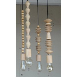 Bright Beads wooden pendant lamp MARZ DESIGNS natural wood color front view