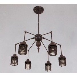 Industrial Vintage Spider chandelier pendant lamp Artek black color front view