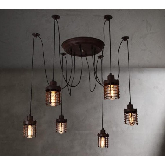 Industrial Vintage Elexir Chandelier with Edison bulbs Dezignlover black color 6 lights front view