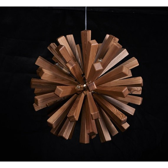 Firework wooden pendant lamp coffee color side view