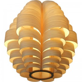 Glow wooden pendant lamp Passion4wood natural color Model A front view