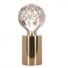 Crystal bulb LED table lamp Lee Broom transparent / gold color front view