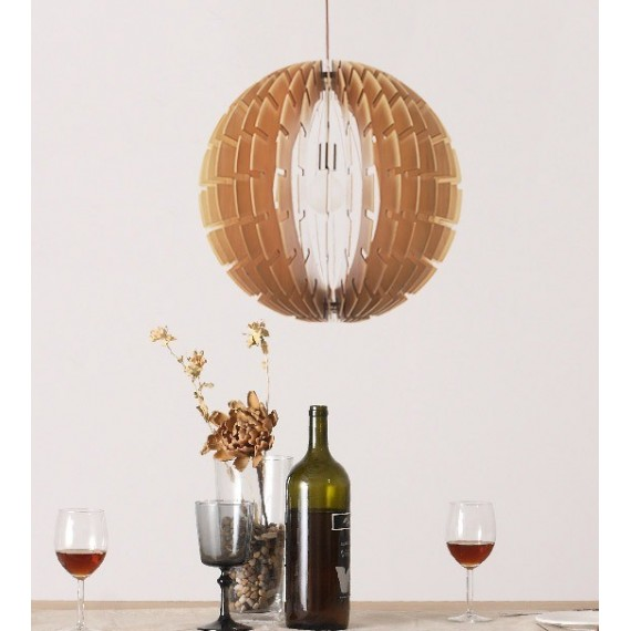 Helios wooden pendant lamp Belux natural color side view