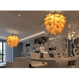 Leaf pinecone pendant lamp natural color side view