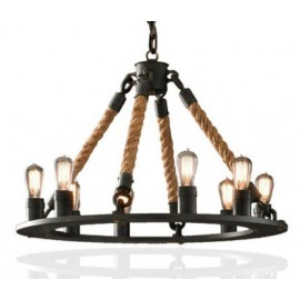 Industrial Vintage hemp rope chandelier pendant lamp 1
