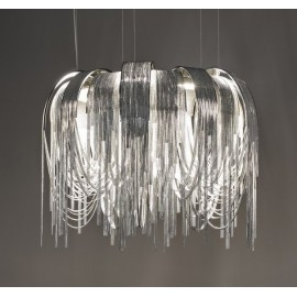 Volver circular LED chandelier Terzani chrome color front view