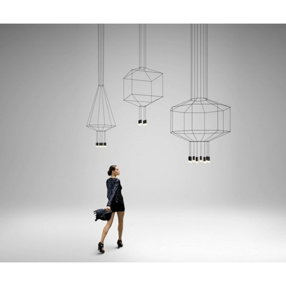 Wireflow LED pendant lamp Vibia black color front view
