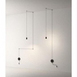 Wireflow 1 LED with peg pendant lamp Vibia black color side view