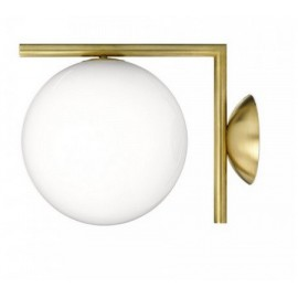 IC LED wall or ceiling lamp Flos gold color L front view
