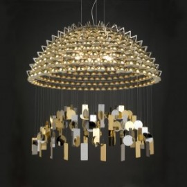 TODO Luxury Chandelier Quasar gold color front view