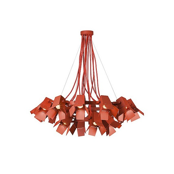 Foto LED chandelier Zero red color front view