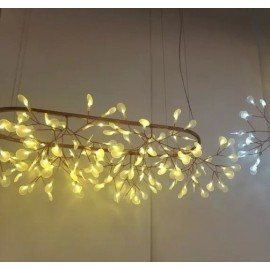 Heracleum The Big O LED Oval Chandelier Lustre Moooi copper color with detail