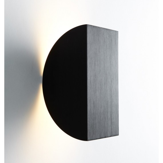 Cora LED Wall lamp Roll & Hill black color front view