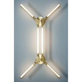 Pris LED Wall lamp PELLE gold color 12 lights front view