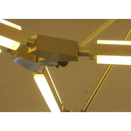 Pris LED Ceiling lamp PELLE gold color 6 lights with detail