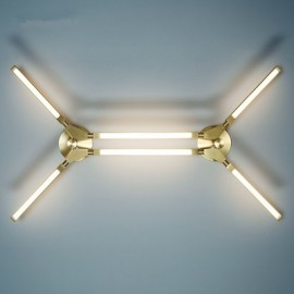 Pris LED Ceiling lamp PELLE gold color 6 lights front view