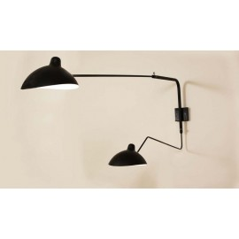 Serge Mouille MCL 2 arms rotating wall lamp Serge Mouille black color front view