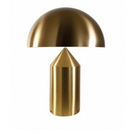 Atollo table lamp in aluminium Oluce gold color front view