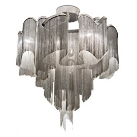 Stream Ceiling lamp Terzani nickel color Diam 60cm front view