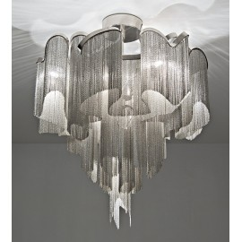 Stream Ceiling lamp Terzani nickel color Diam 80cm side view