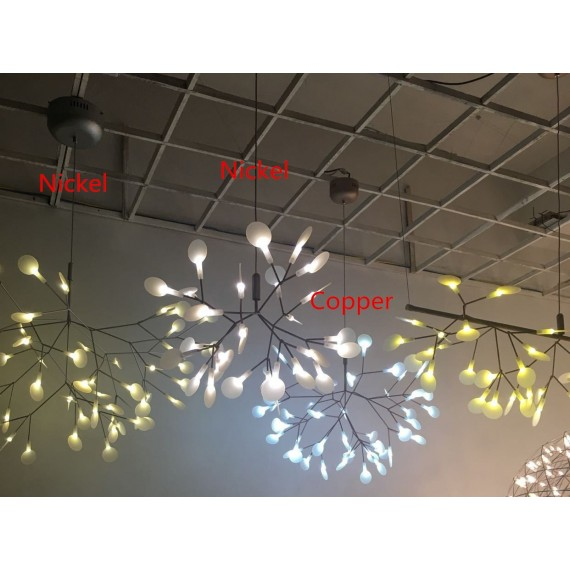 Heracleum LED Chandelier Lustre Moooi nickel color / copper color back view