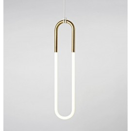 Rudi Loop pendant lamp Roll & Hill white / gold color Single front view