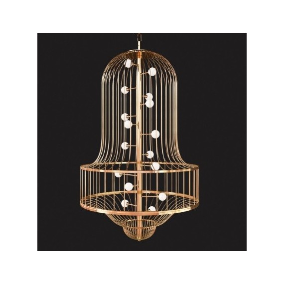 LUCIOLA chandelier Driade gold color S front view