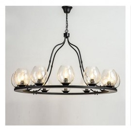 Industrial nordic style Bubble Iron Chandelier Restoration Hardware black color 12 bulbs side view
