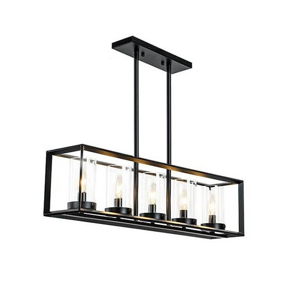 Industrial Loft Glass Rectangular pendant lamp Restoration Hardware black color front view