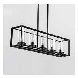 Industrial Loft Glass Rectangular pendant lamp Restoration Hardware black color side view