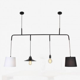 Vialattea pendant lamp with edison bulbs Pottery Barn black color back view