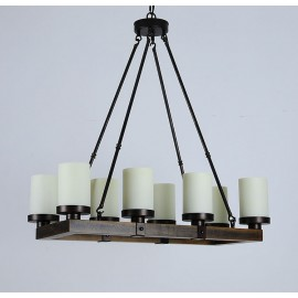 Arturo Rustic Vintage wood LED rectangular chandelier Kevin Reilly Lighting white color front view